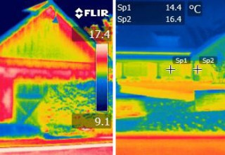 Thermal Image: Adams Fairacre, CMU/brick (left) vs  Tilt-Up (right). Photo courtesy of Thermomass